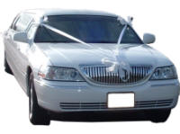 Cars for Stars (Maidstone) - Wedding Limo. White Lincoln stretched wedding limousine with white ribbons